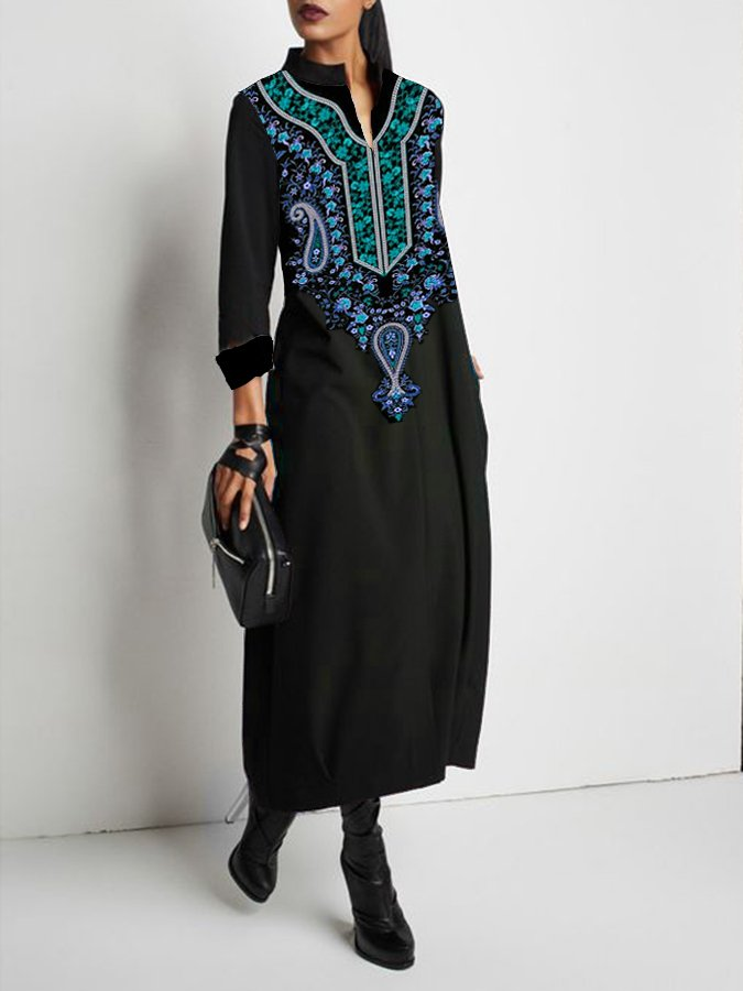 Long Sleeve Tribal Printed Shift Dress