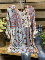 Flower V Neck Boho Shirt & Top