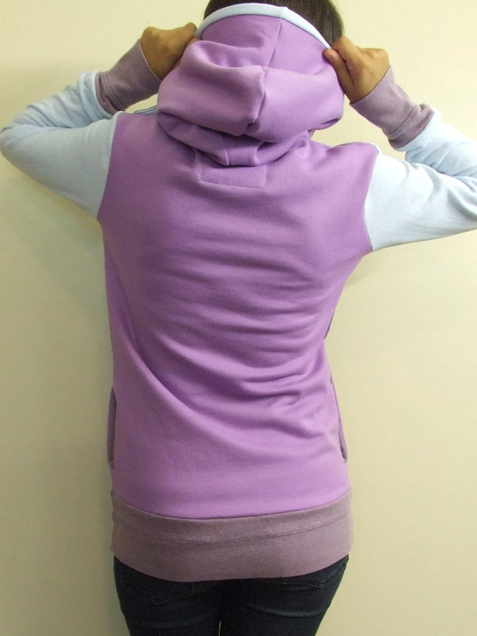 Purple Color-Block Casual Turtleneck Sweatshirt