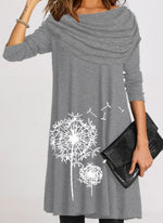 Gray Cotton Casual A-Line Dresses