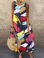 Sleeveless Printed Crew Neck Maxi Dresses