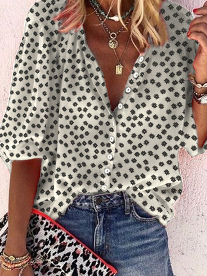 Casual V Neck Floral-Print Shirts & Tops