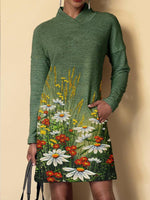 Green Shift Long Sleeve Cotton-Blend Floral Dresses