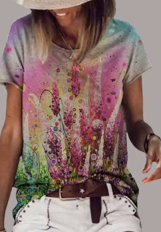 Multicolor Shift Cotton-Blend Vintage T-shirt