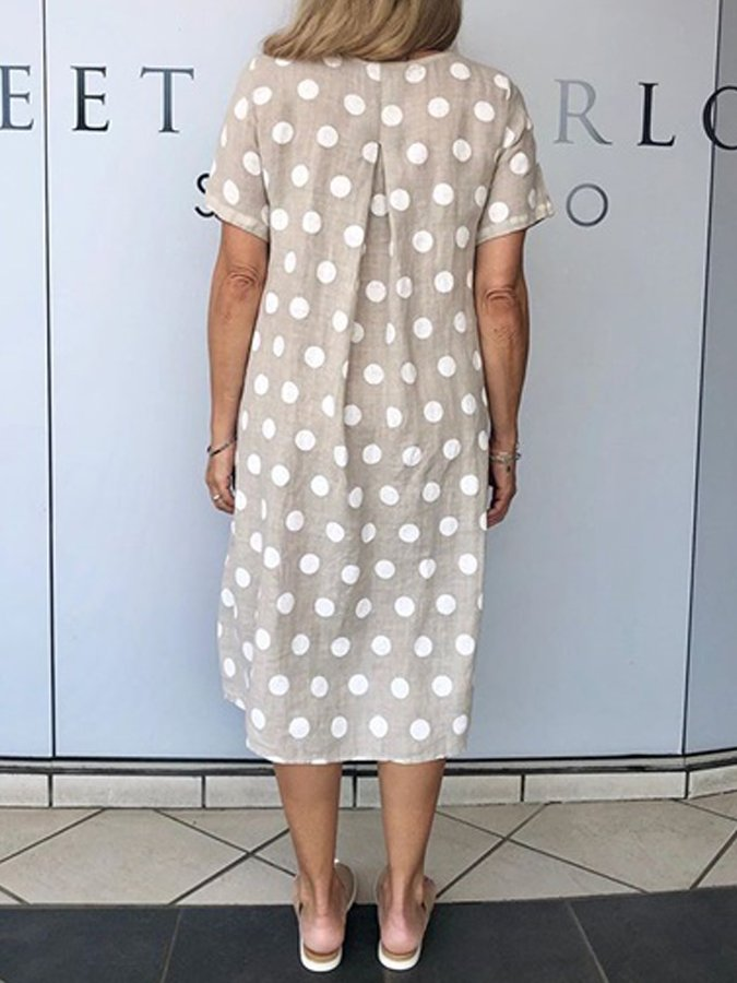 Light Gray Shift Short Sleeve Polka Dots Pockets Dresses