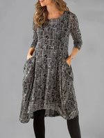 Pockets Round Neck Shift Long Sleeve Dresses