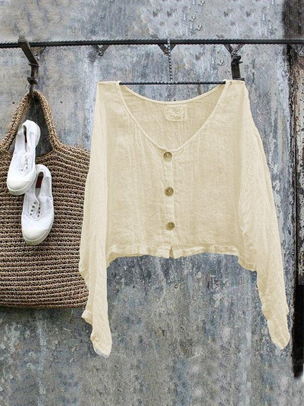 Casual Long Sleeve Linen Round Neck Plus Size Tops