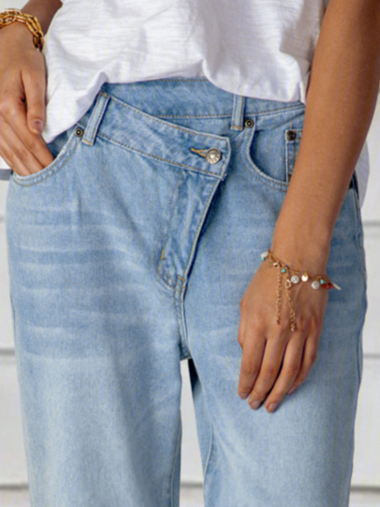 Blue Denim Casual Shift Pants