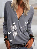 Plant V Neck Casual Long Sleeve Shirts & Tops