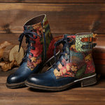 Blue Low Heel Outdoor Faux Leather Spring Lace-Up Boots