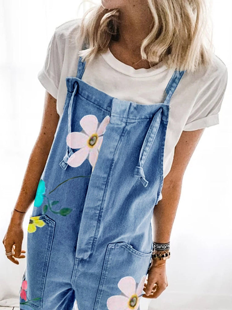 Blue Casual Denim Floral One-Pieces