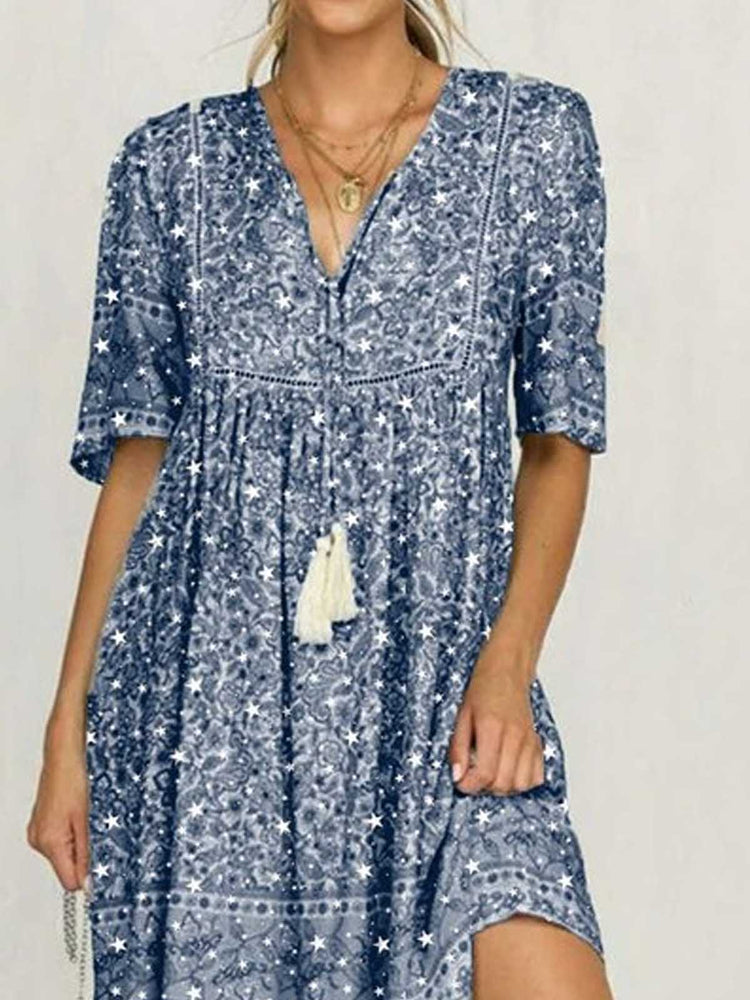Blue Cotton Printed Short Sleeve Patchwork Dresses