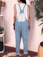 Blue Casual Pockets Plain Jumpsuits