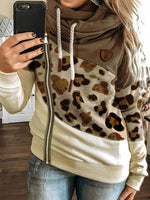 Coffee Long Sleeve Paneled Leopard Print Outerwear