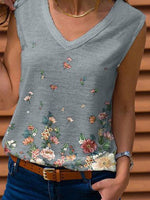 Gray Printed Shift Floral Casual Shirts & Tops