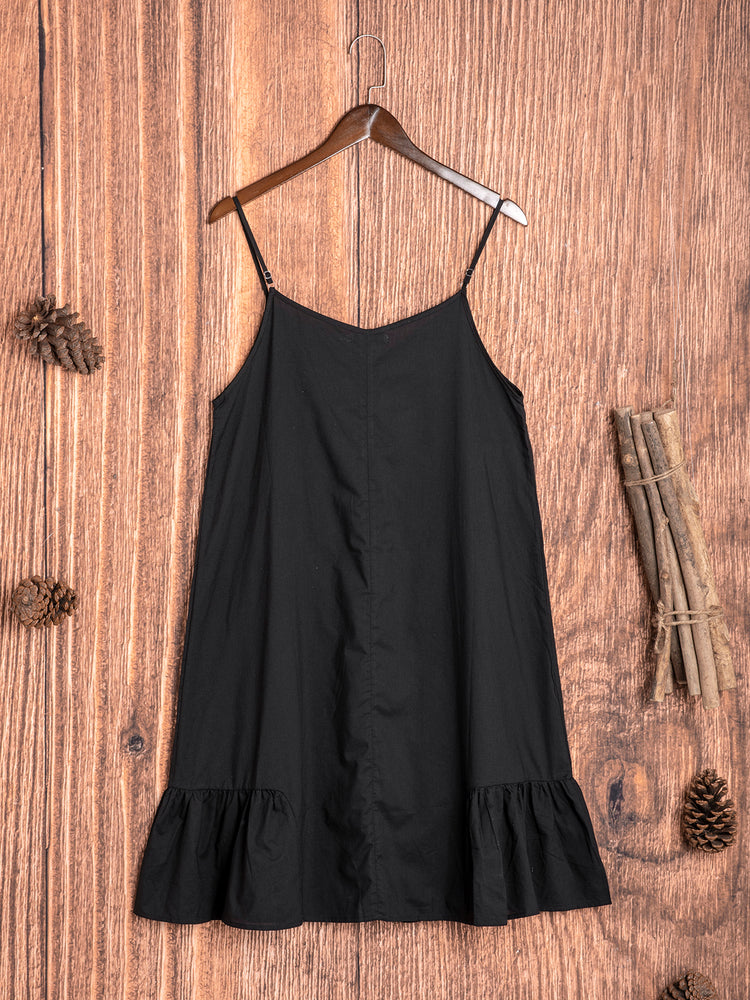 Casual Plus Size Solid Sleeveless Dress