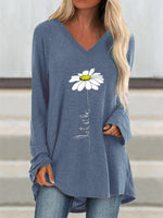 Blue Casual V Neck Long Sleeve Shirts & Tops