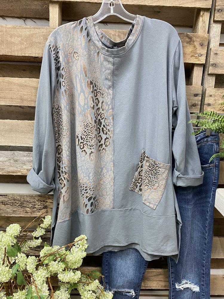 Long Sleeve Cotton-Blend Shift Leopard Shirts & Tops