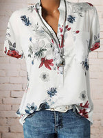 Floral Plus Size Short Sleeve Casual Summer Blouses