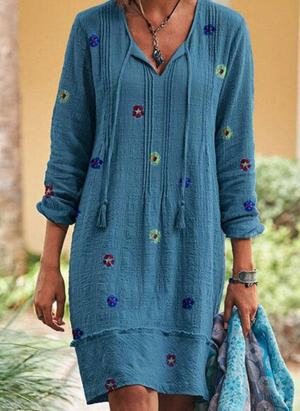 Blue V Neck Casual Floral Dresses
