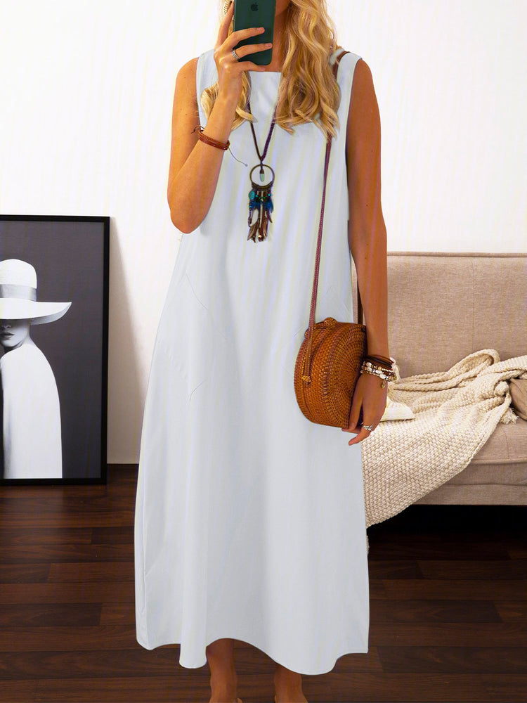 Summer Maxi Pockets Dresses Women Plus Size Solid Sleeveless Crew Neck Dresses
