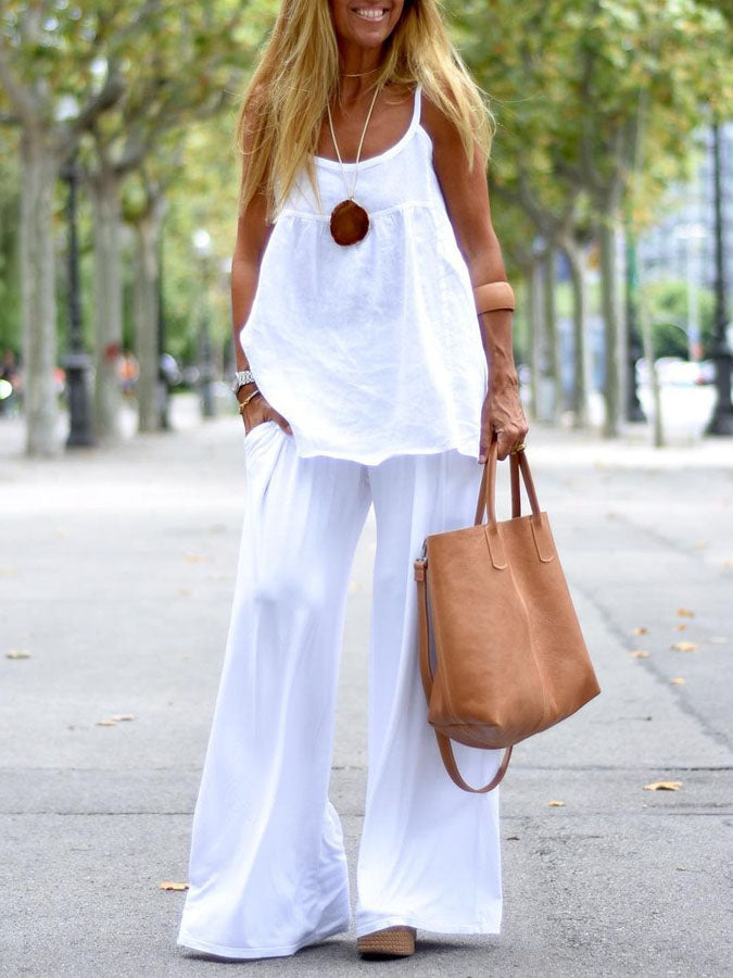 Casual solid color sleeveless round neck top and pants two-piece suit
