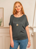 Women T-Shirt Cold Shoulder Cotton Crew Neck Sexy
