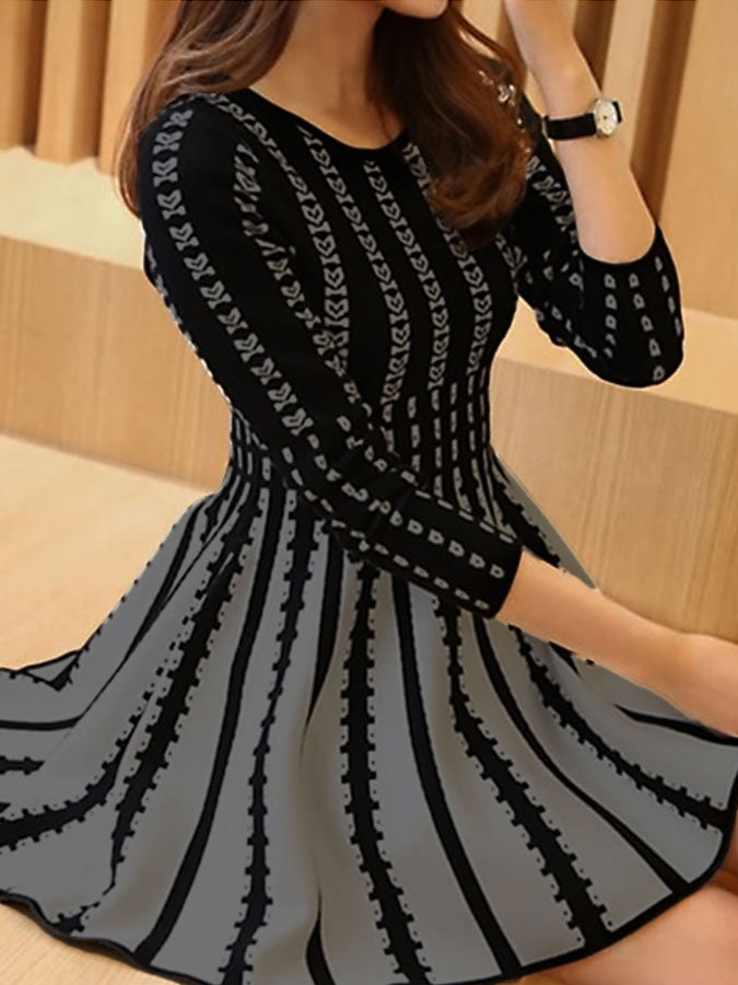 Black Long Sleeve Casual Floral-Print Dresses