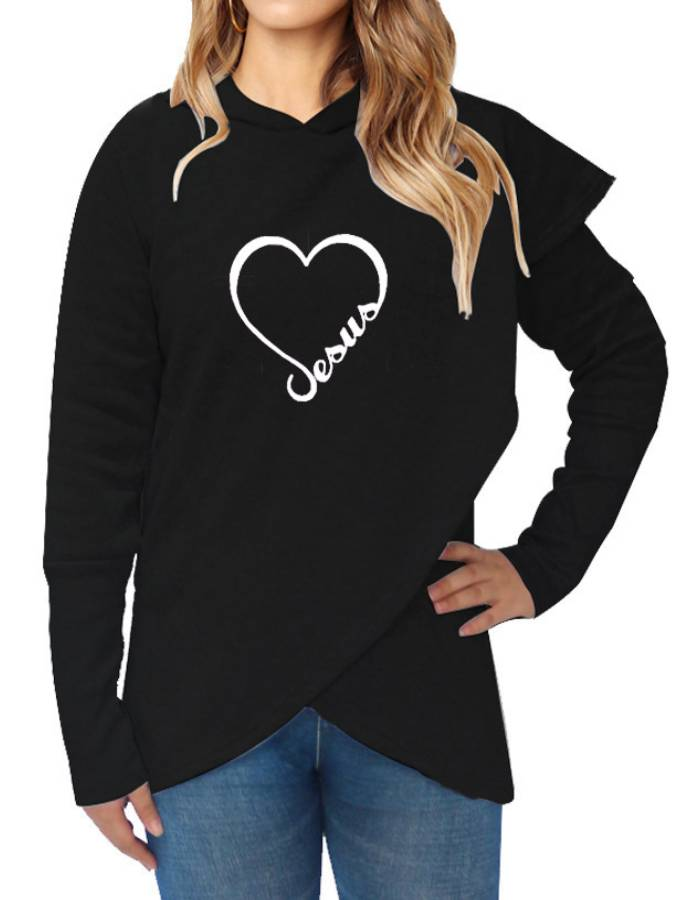 Cotton-Blend Long Sleeve Shift Sweatshirt