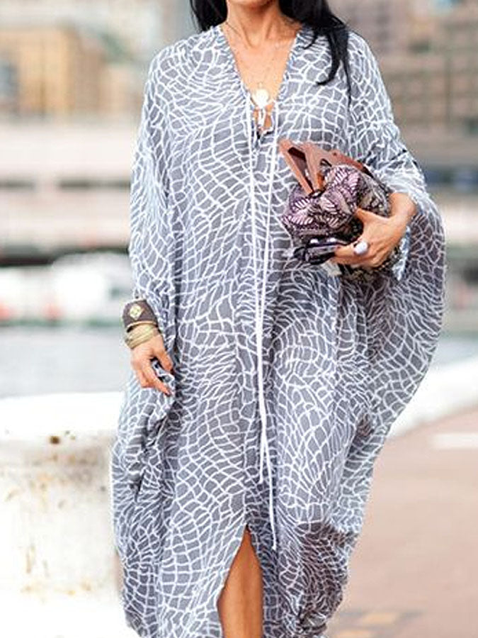 Casual loose printed V-neck holiday dress