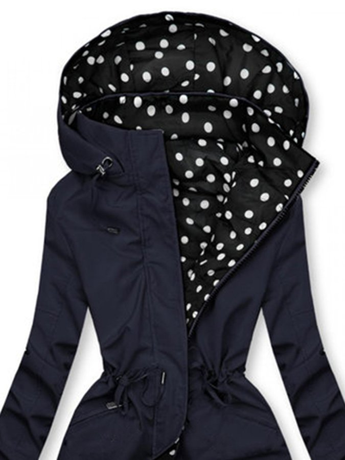 Navy Blue Casual Polka Dots Outerwear