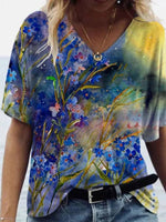 V-neck Abstract Print Short Sleeve T-shirt