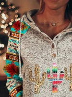 Gray Vintage Printed Tribal Hoodie Sweatshirt