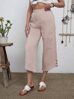 Summer Pockets Buttoned Elastic Waist Stylish Casual Capri Pants