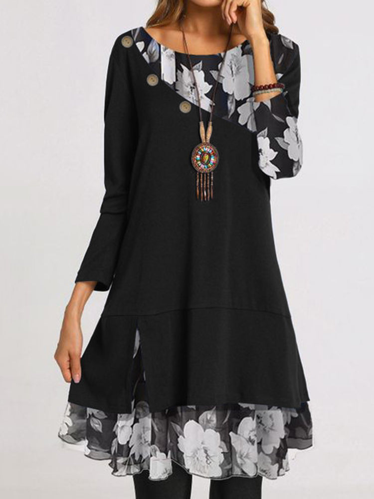 Floral Paneled Long Sleeve Casual Dresses