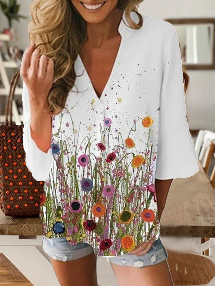 White Printed Cotton Half Sleeve Patchwork Shirts & Tops