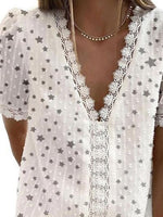White Star Paneled Shift Short Sleeve Shirts & Tops