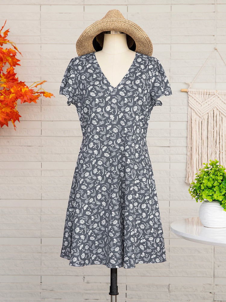 Floral Slim Pullover Women's Dress Short Sleeve Floral Dresses