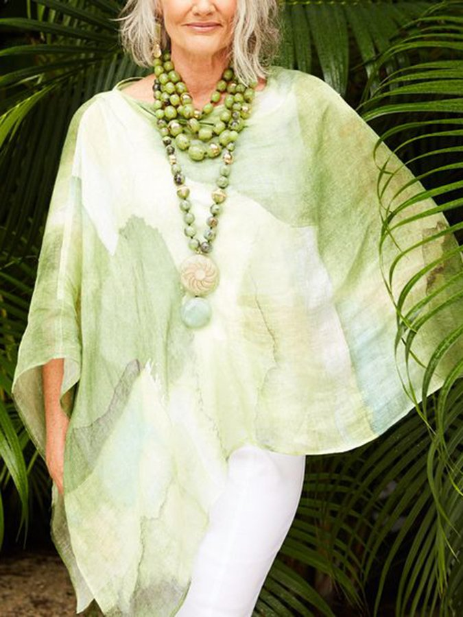 Green Cape Sleeve Cotton Shirts & Tops