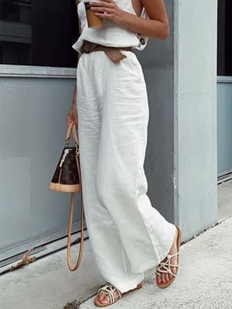 Plain Cotton Casual Pants