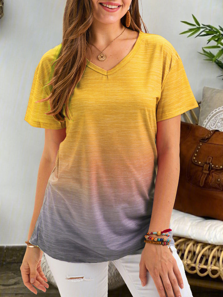 Gradient Color Short Sleeve Shirts