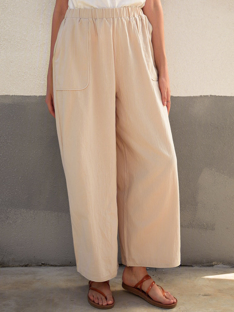 Casual Plain Pockets Linen Pants