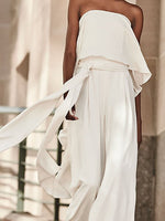 White Cold Shoulder Off Shoulder One-Pieces