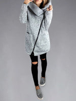 Gray Plain Turtleneck Sweet Sweatshirt