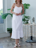 Women Pockets Spaghetti Linen Maxi Dresses