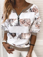White Floral Paneled Shift Long Sleeve Sweatshirt