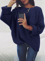 Knitted Solid Long Sleeve Sweater