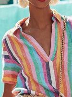Color Cotton Short Sleeve Stripes Shirts & Tops