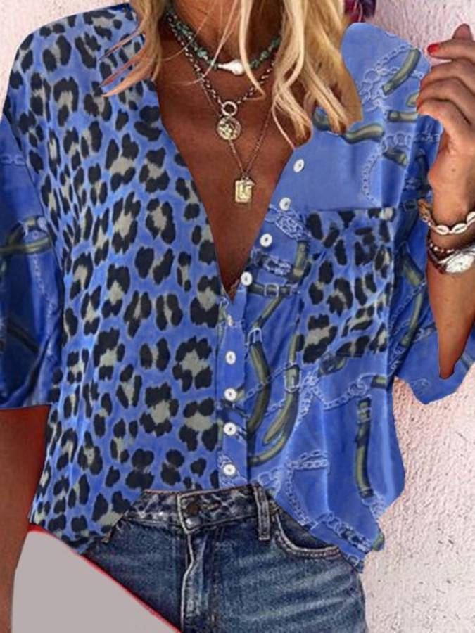Cotton-Blend Casual Shirts Blouse