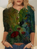 Green Long Sleeve Floral Vintage Blouse
